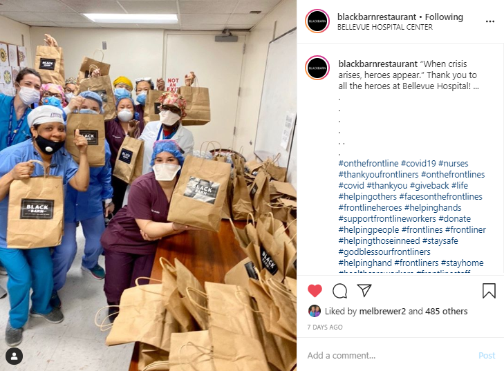 Black Barn Restaurant Feeds Hospital Workers